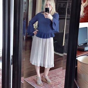 H&M Skirts - H&M light taupe full skirt elasticized waistband